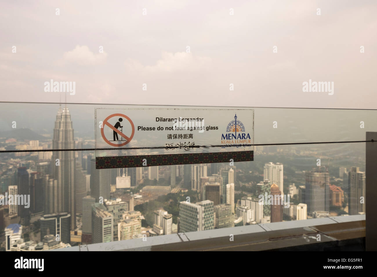 View from the observation deck on the KL tower, Kuala Lumpur, Malaysia, on a day with high humidity and hazy skies. - Stock Image
