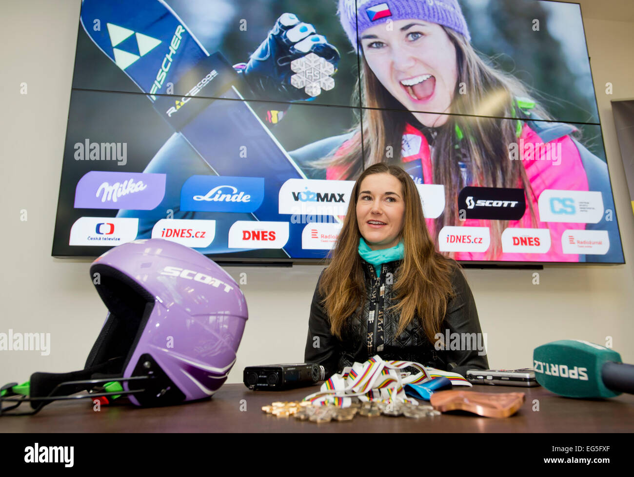 Prague, Czech Republic. 17th Feb, 2015. Czech skier Sarka Strachova who won the third place in the women´s - Stock Image
