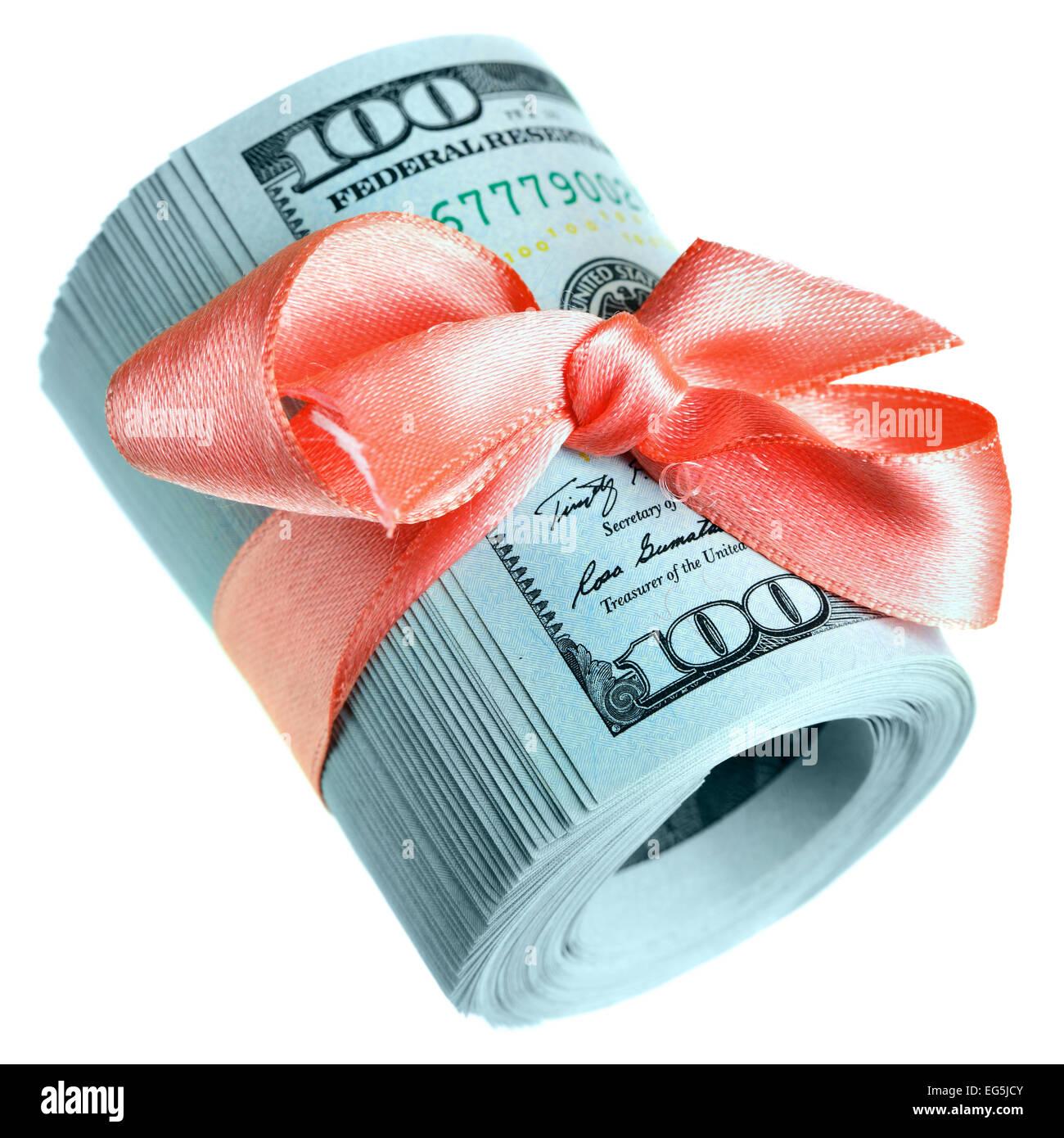 roll of new hundred dollar bills money for gift stock photo