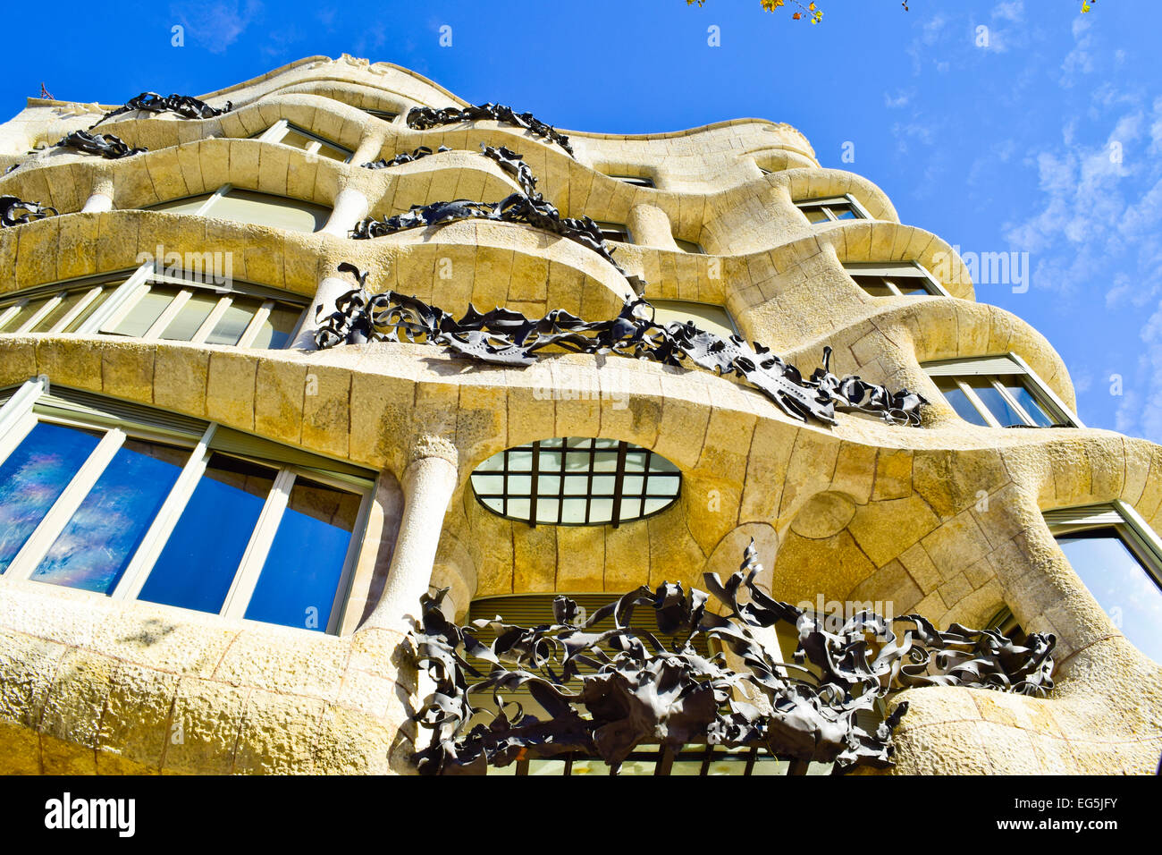 Mila house aka La Pedrera, Designed by Antoni Gaudi architect. Barcelona, Catalonia, Spain. - Stock Image
