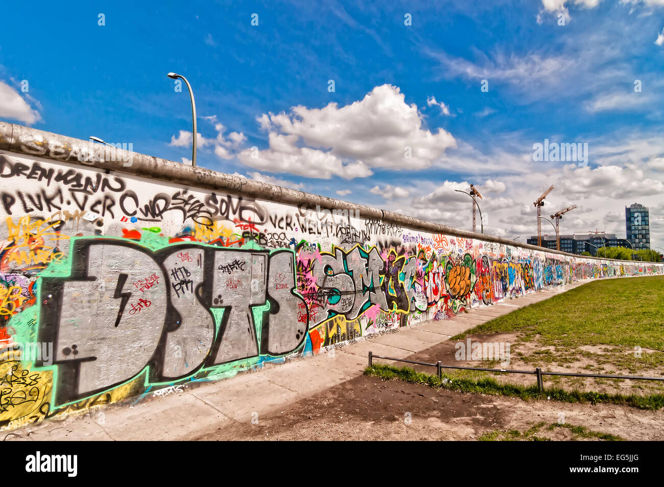 BERLIN, GERMANY - June 10, 2013: memorable segment of the Wall Berliner Mauer from communist history, which collapsed - Stock Image