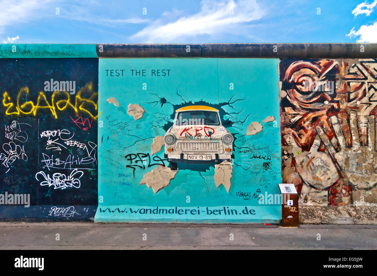 BERLIN, GERMANY - JUNE 10: painting from Birgit Kinder of the Trabant in The East Side Gallery - the largest outdoor - Stock Image