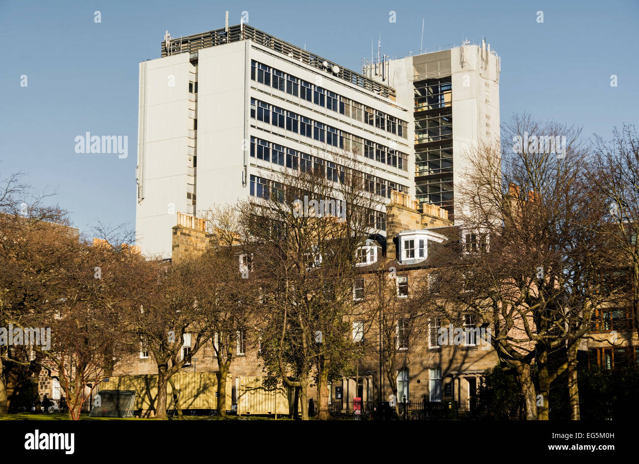 Appleton Tower, part of the University of Edinburgh, from George Square. - Stock Image