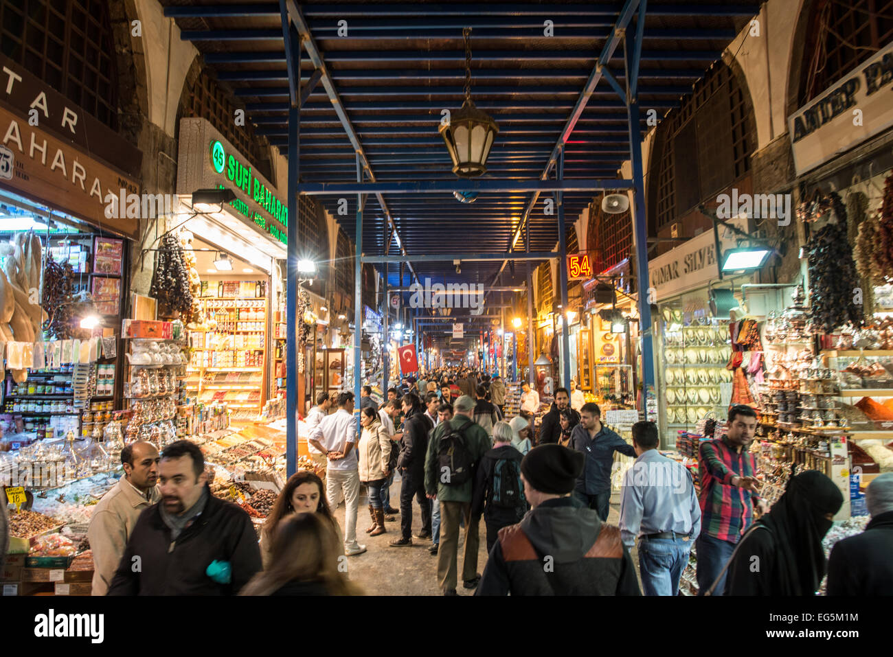 Located in the Eminonu quarter of Istanbul, next to the Galata Bridge, the Spice Bazaar is one of the city's - Stock Image