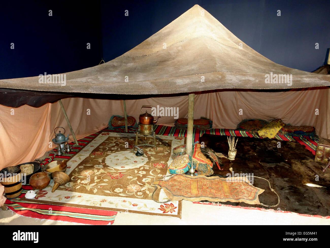 Nomadic tent from the Sahara displayed in Elder Museum, Las Palmas de Gran Canaria - Stock Image