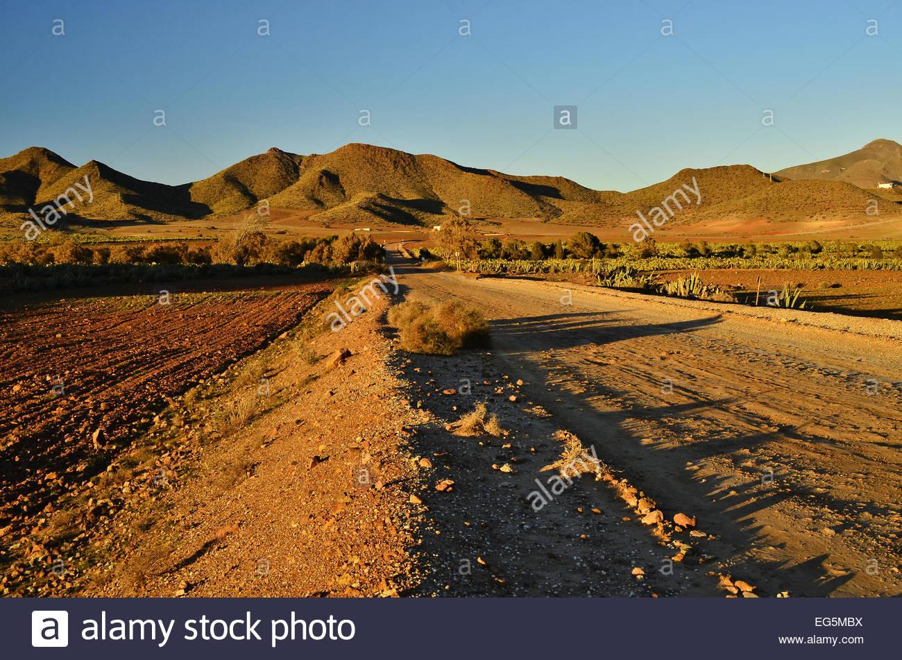 Dirt (unpaved) road through arid desert landscape of Cabo de Gata Natural Park, Almeria Andalusia Southern Spain - Stock Image