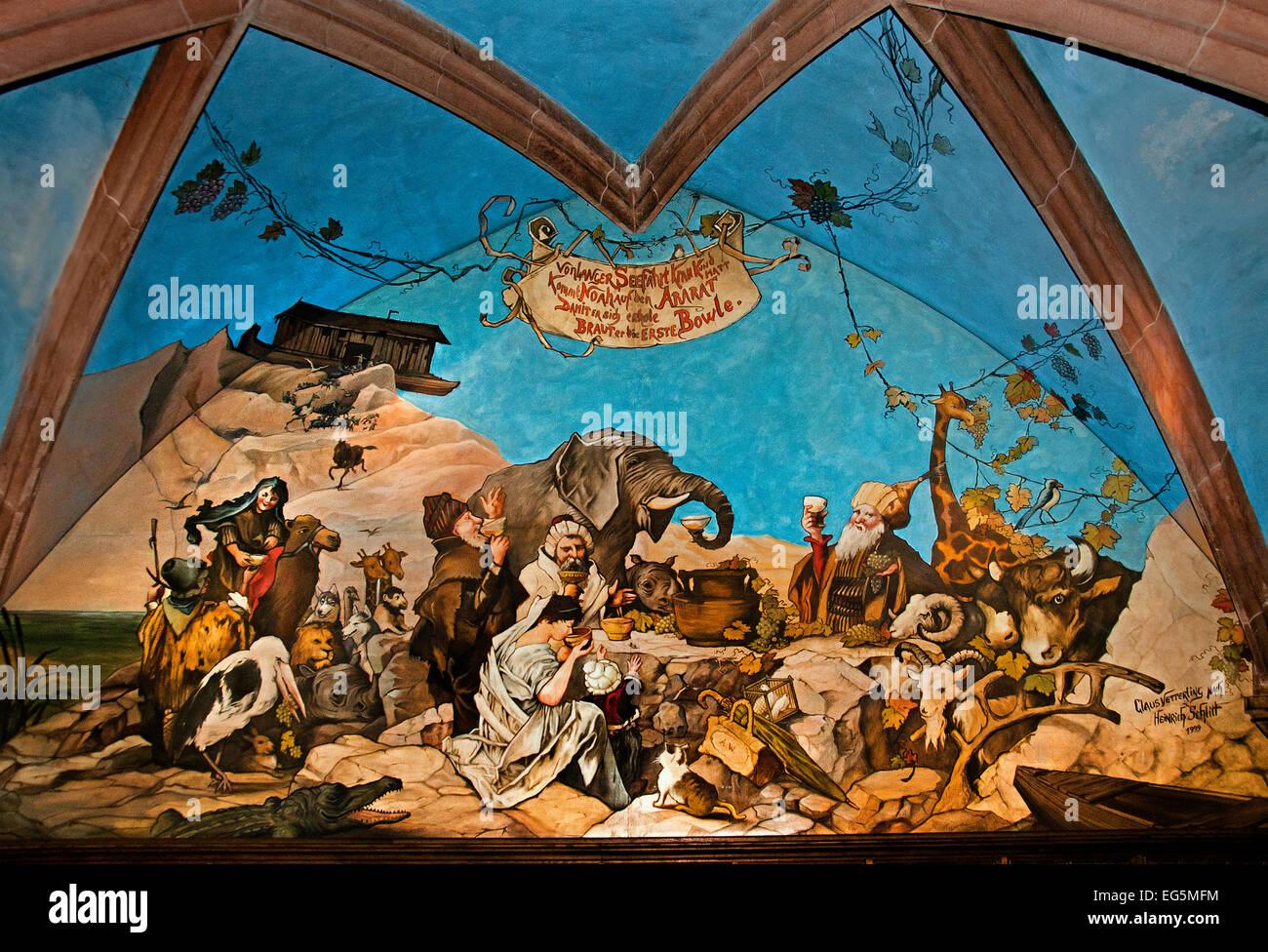 Ratskeller Restaurant Fresco Mural Painting  Munich German Germany - Stock Image