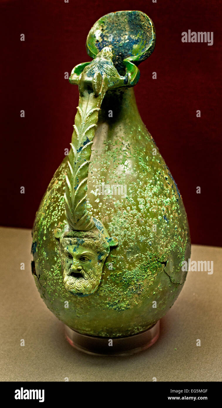 Wine jug sits the head of a bearded man on the spout of a lion's head 460 BC Greek Greece ( Staatliche Antikensammlungen - Stock Image
