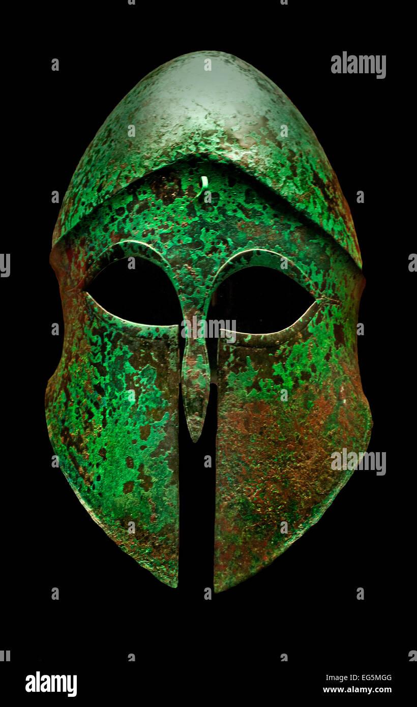 Corinthian helmet 5th Century BC Greek Greece ( Staatliche Antikensammlungen Munich Germany ) - Stock Image
