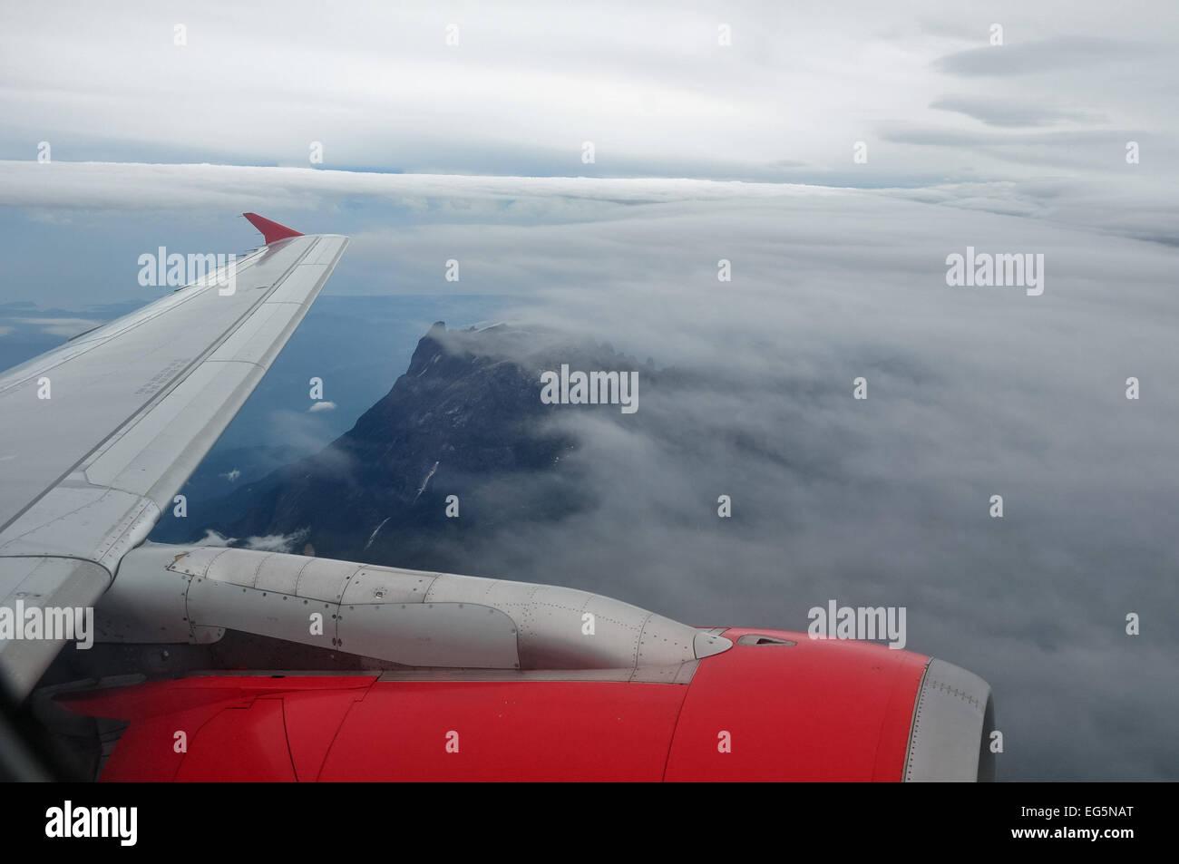 Mount Kinabalu, Sabah, East Malaysia, Borneo - as seen from plane - Stock Image