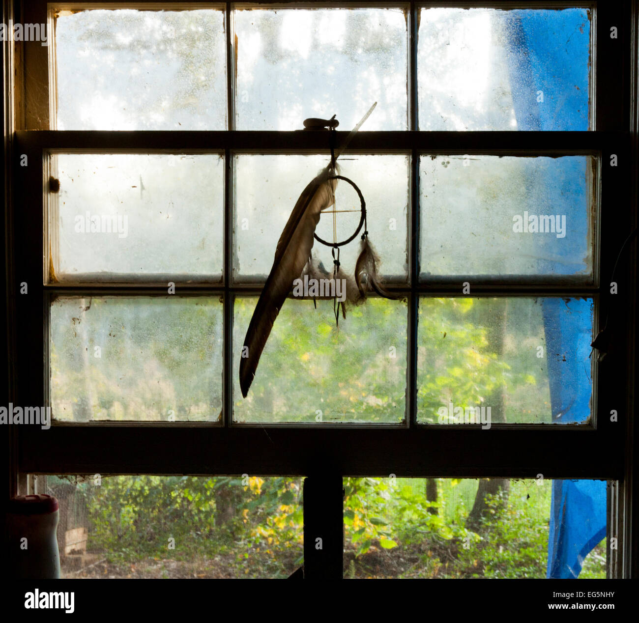 Dream catcher in a window - Stock Image