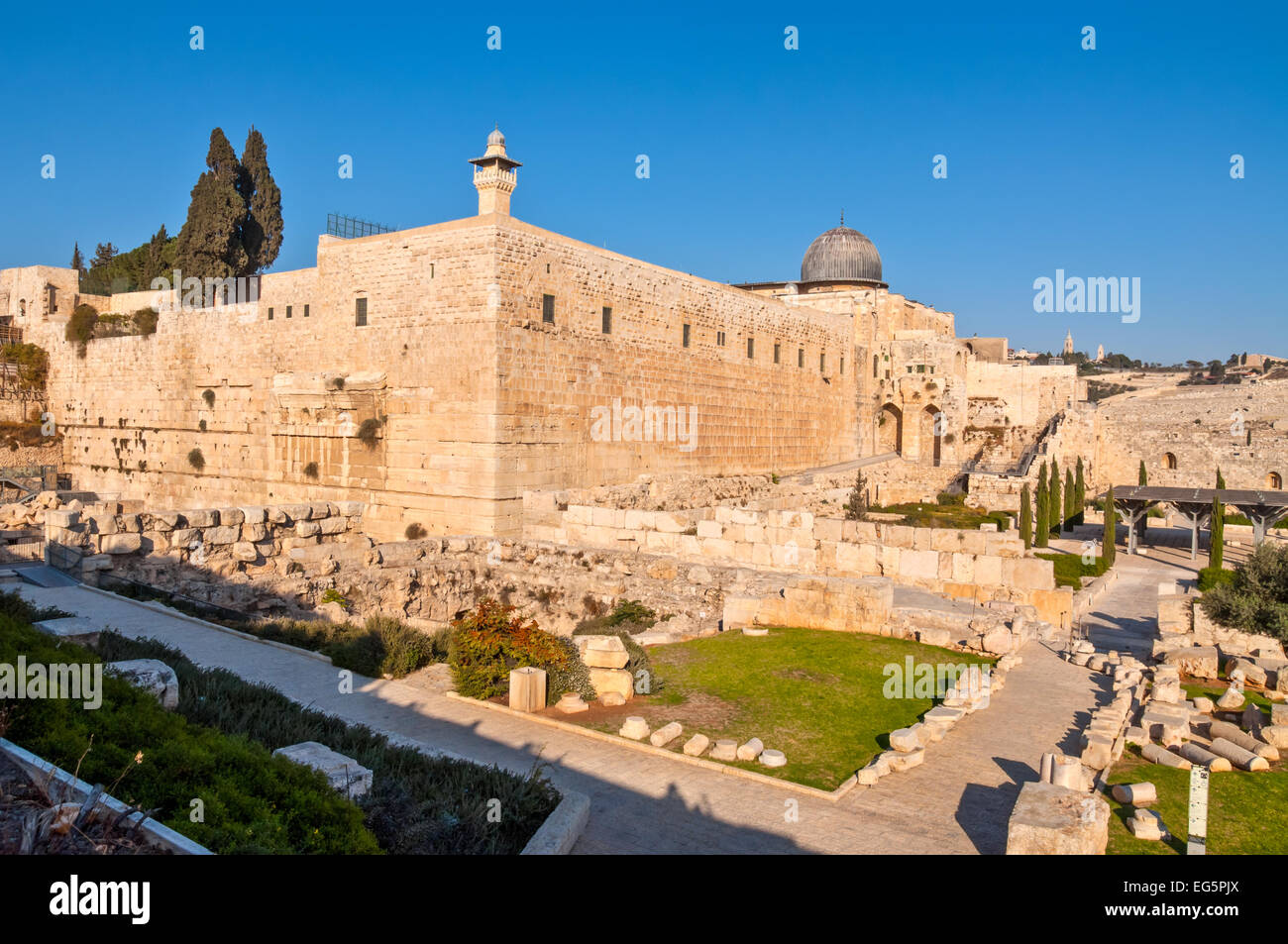 The southwest corner of the temple mount in Jerusalem - Stock Image