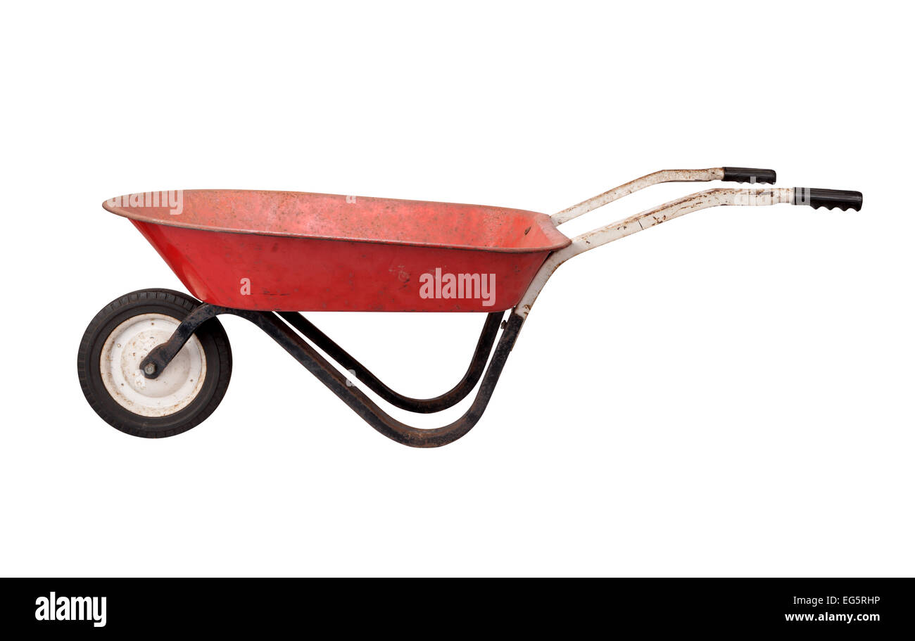 Antique Rusty Wheelbarrow isolated on white. - Stock Image