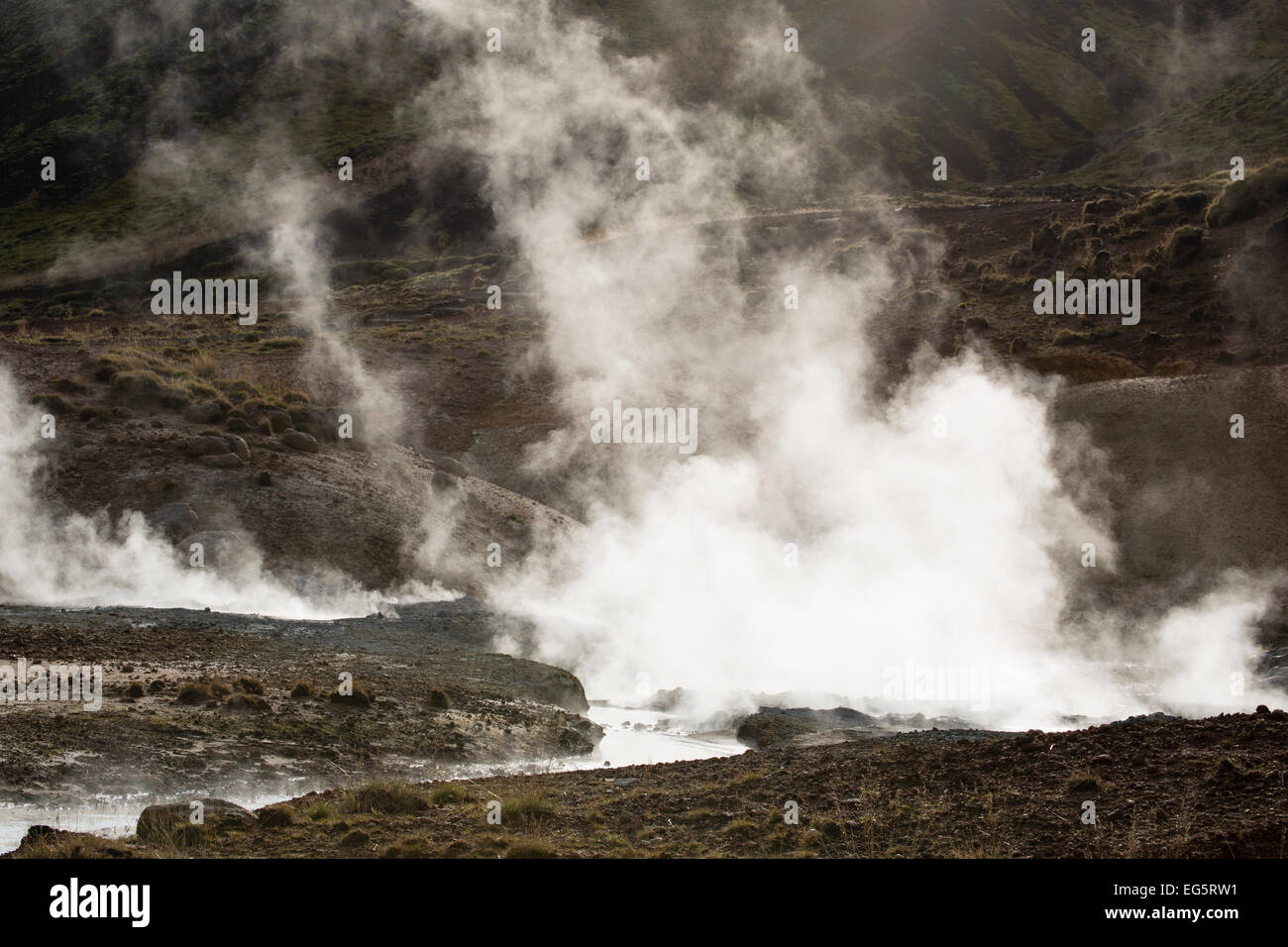Steam rising from fumarole at Seltun, Iceland - Stock Image