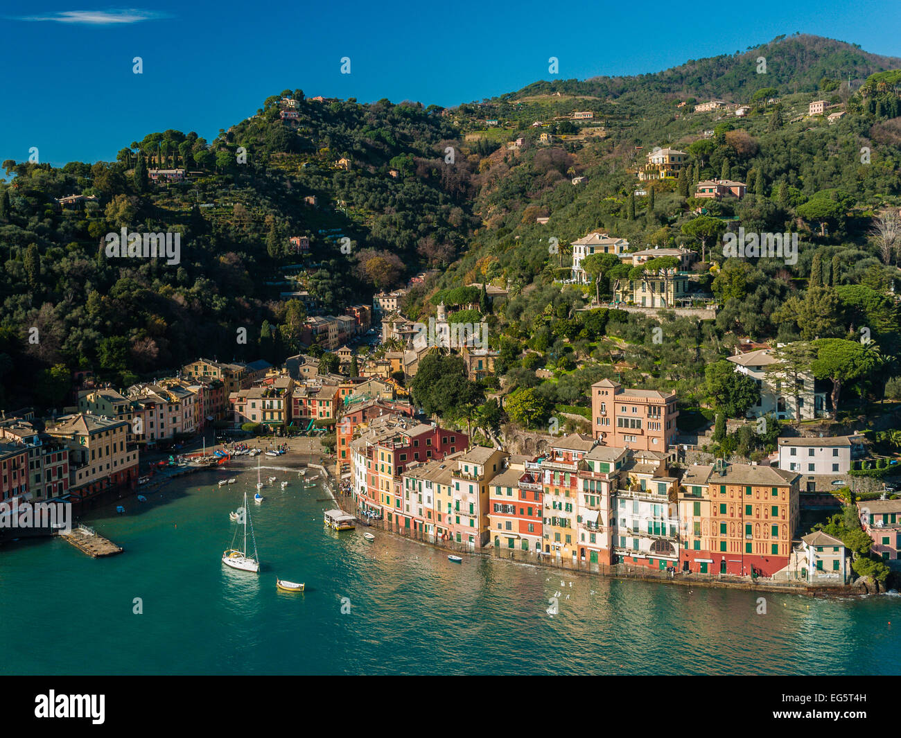 View of Portofino from a nearby hill during the winter - Stock Image