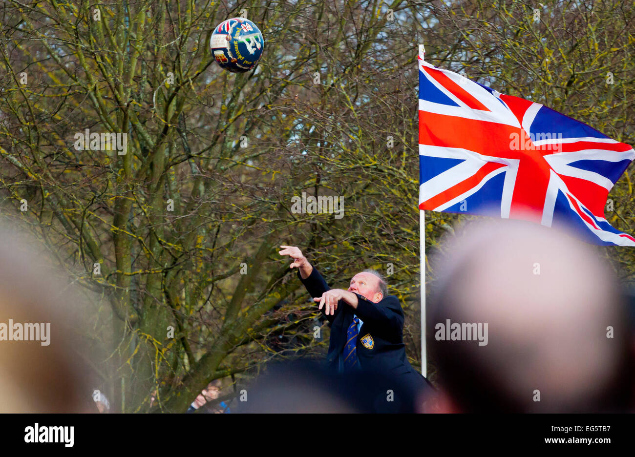 Ashbourne, Derbyshire, UK 17th February 2015 - The start of the annual Shrovetide Football Match in Ashbourne Derbyshire - Stock Image
