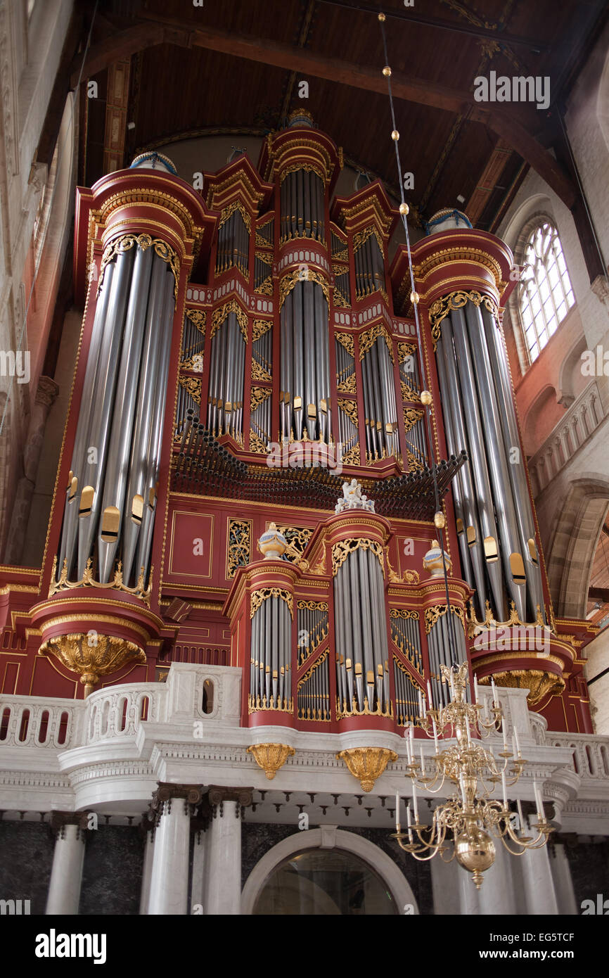 Pipe organ in Grote of Sint – Laurenskerk (St. Lawrence Church), Rotterdam, Holland, Netherlands. - Stock Image