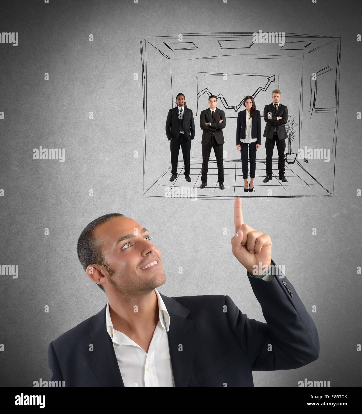 Executive operates with simplicity - Stock Image
