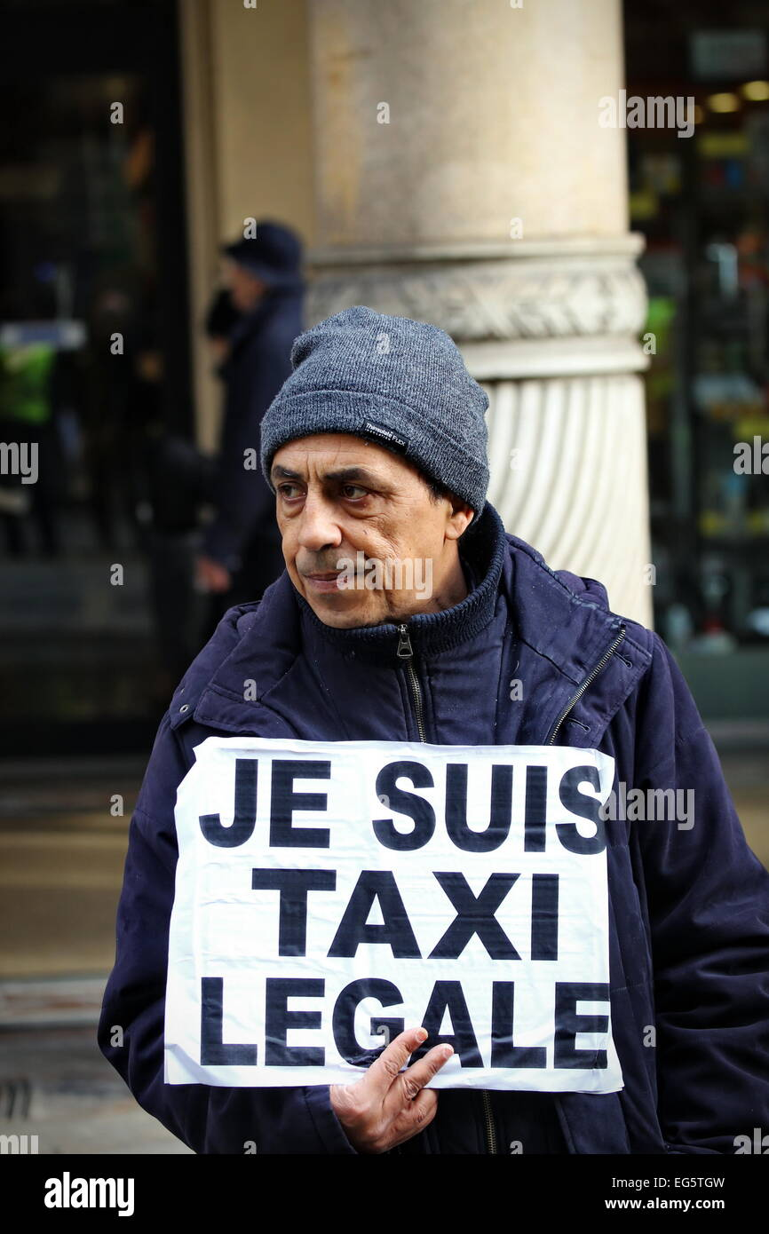 Italian Taxi driver protest against Uber app in Turin (Italy) Stock Photo