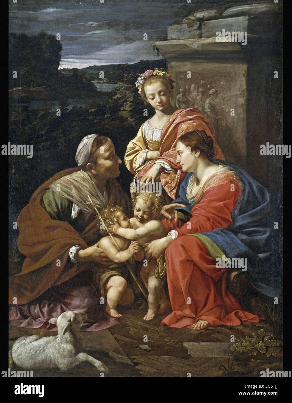 Simon Vouet  Virgin and Child with Saint Elisabeth, the Infant Saint John and Saint Catherine - Stock Image