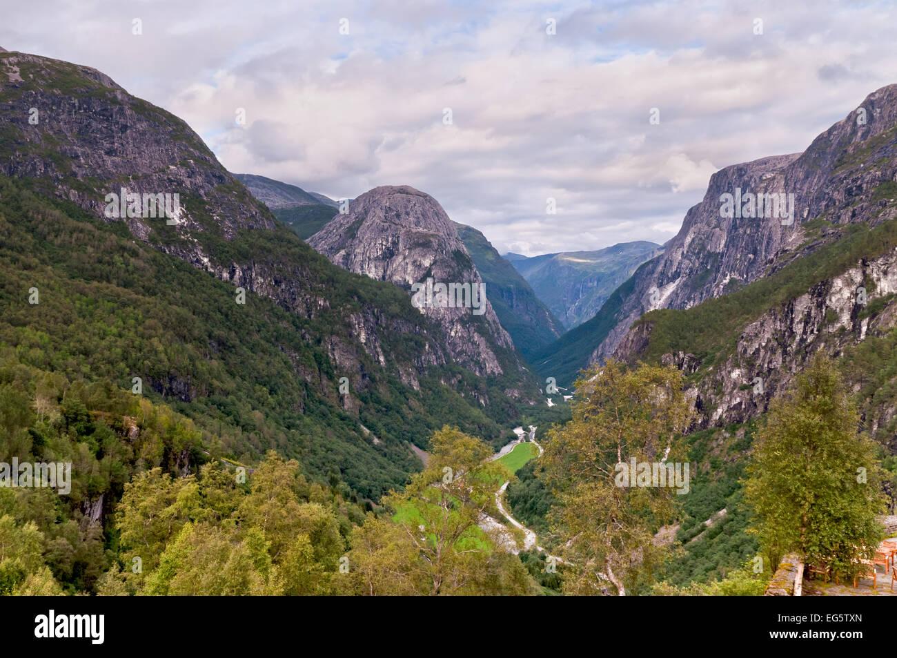 View on Naeroydalen valley from Stalheim - Stock Image