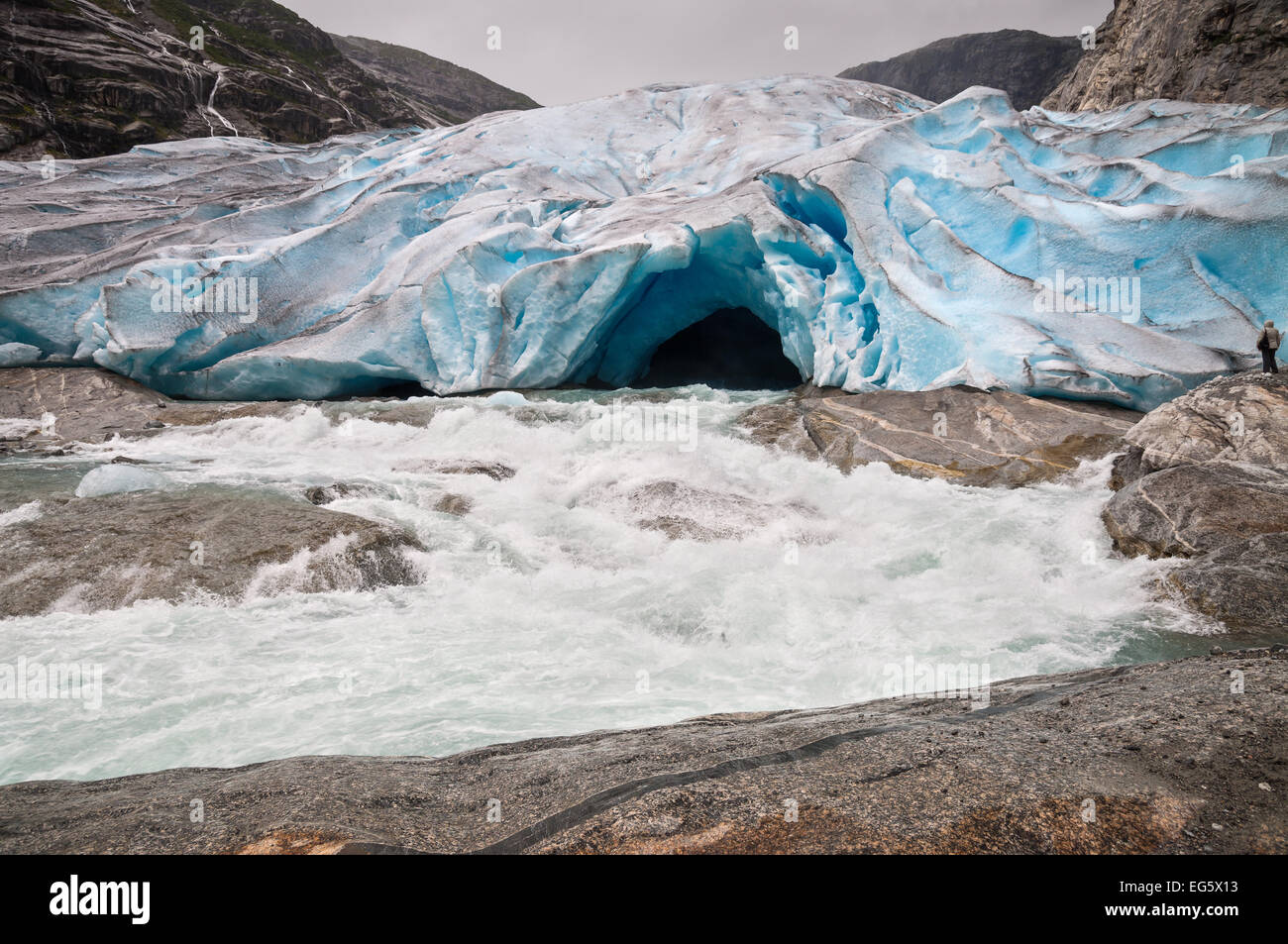 Jostedalsbreen glacier and glacial river in Norway - melting because of Global warming. - Stock Image