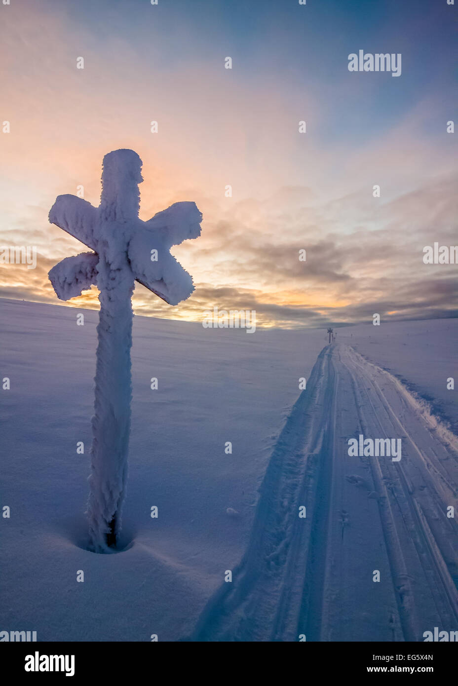 A snowmobile track in the treeless wilderness of Lapland - Stock Image