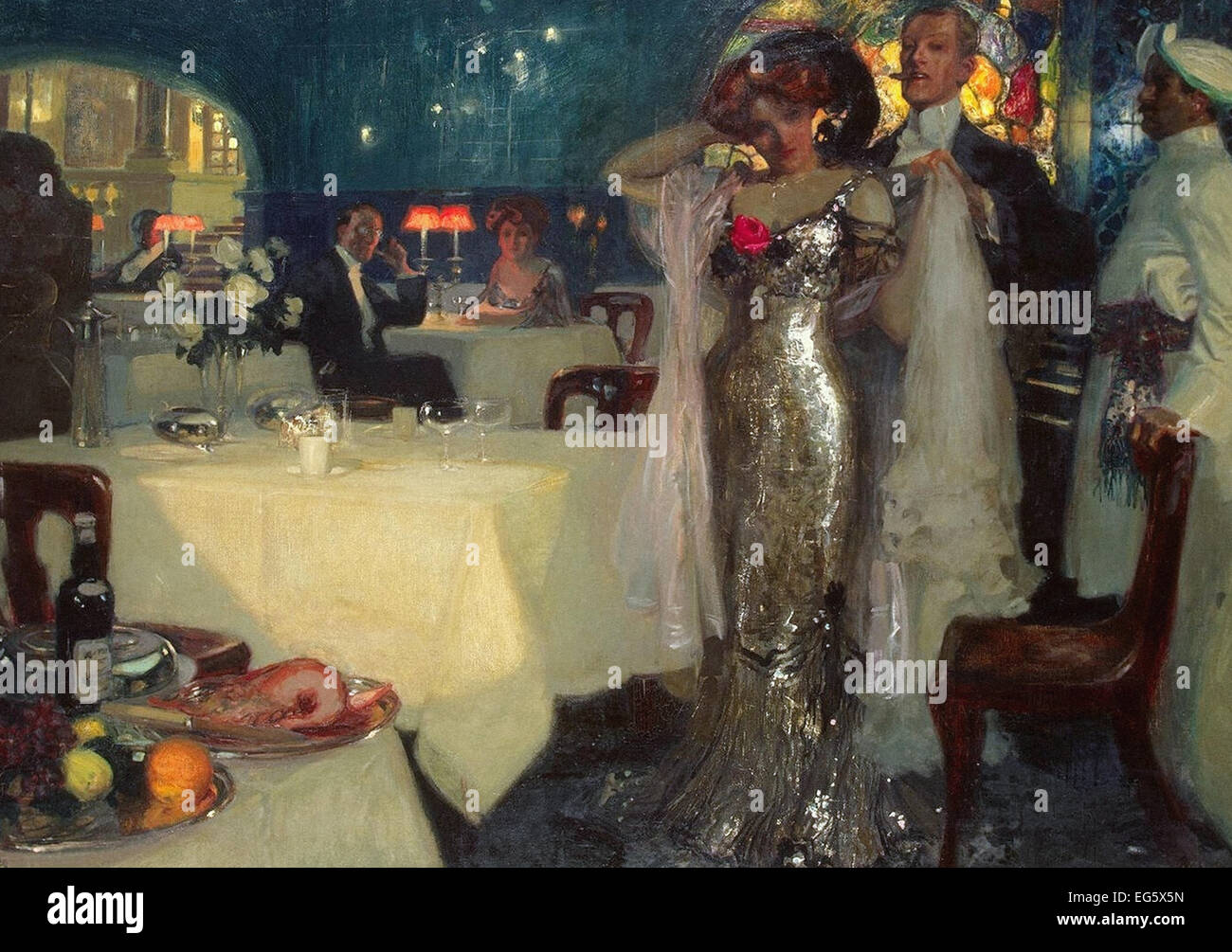 Charles Hoffbauer  In the Restaurant - Stock Image