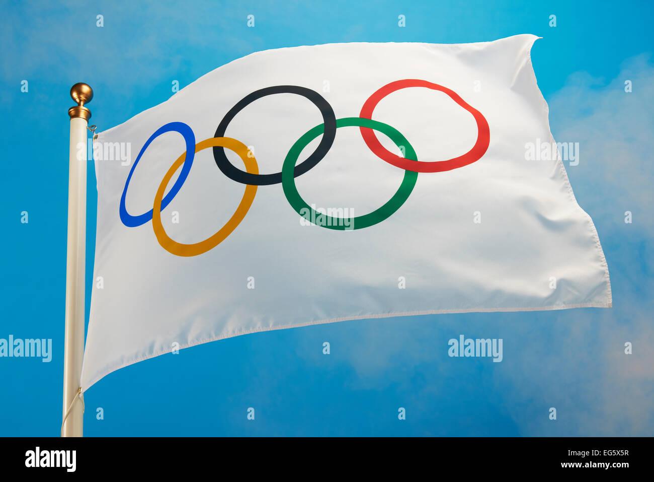 olympic flag flying - Stock Image