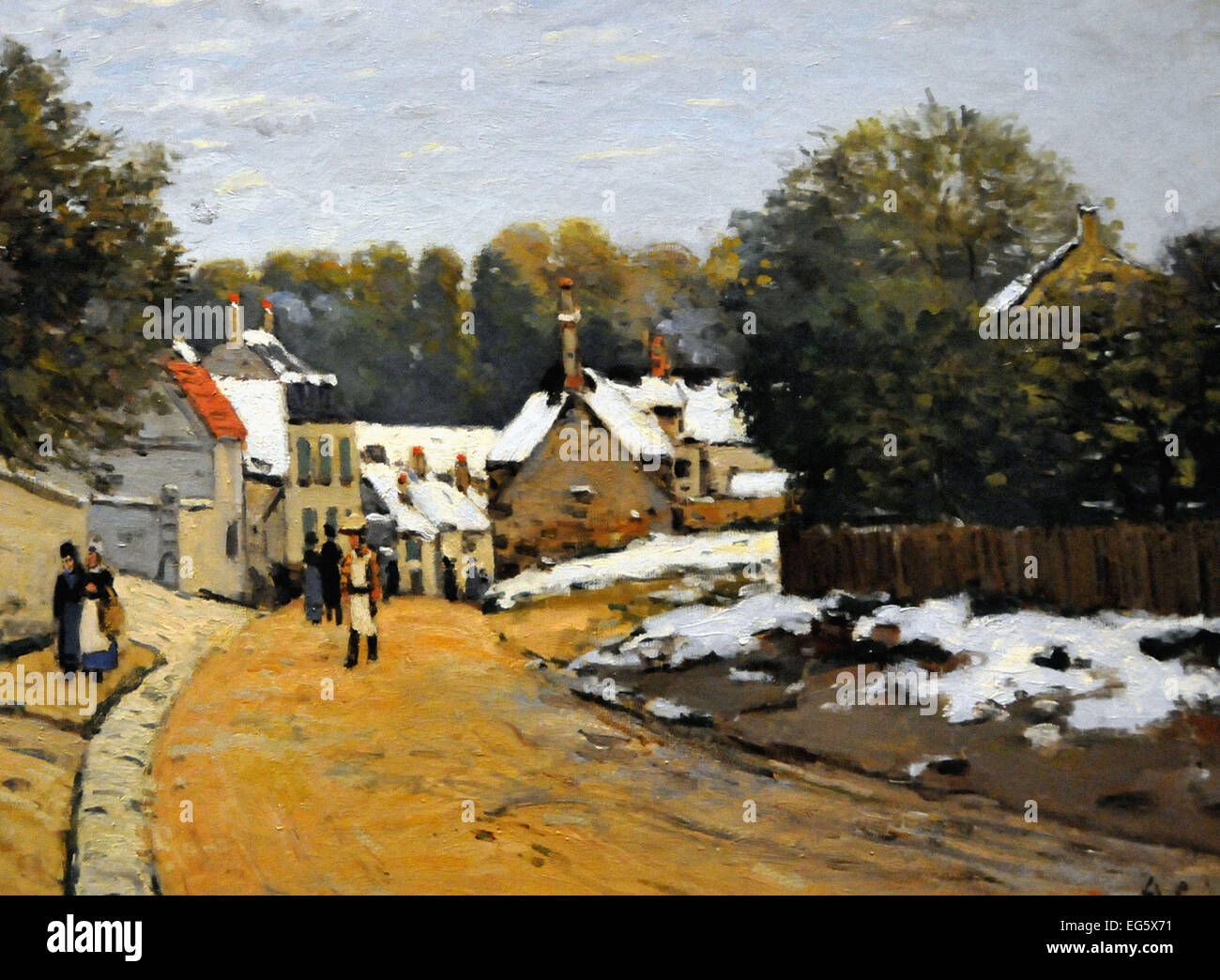Alfred Sisley  Early Snow at Louveciennes - Stock Image