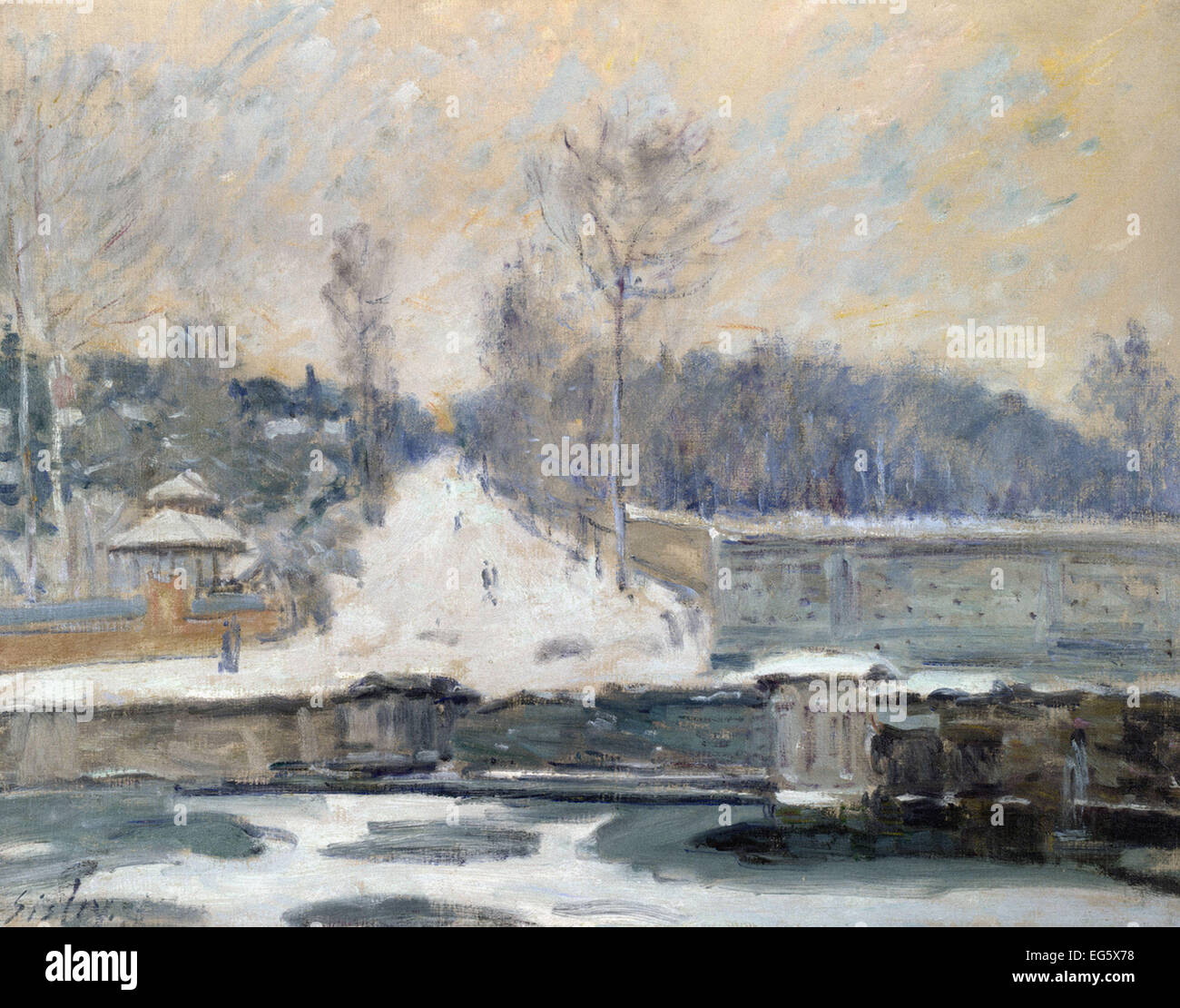 Alfred Sisley  The Watering Place at Marly-le-Roi - Stock Image