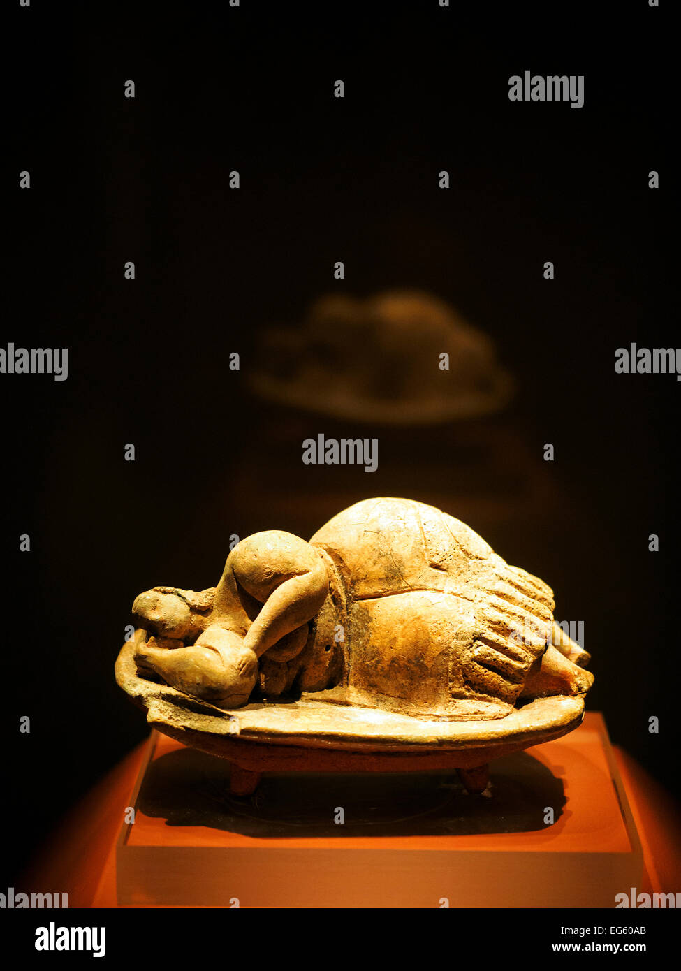 The stone figurine 'Sleeping lady' from the Hal Saflieni Hypogeum in the National museum of archaeology - Stock Image
