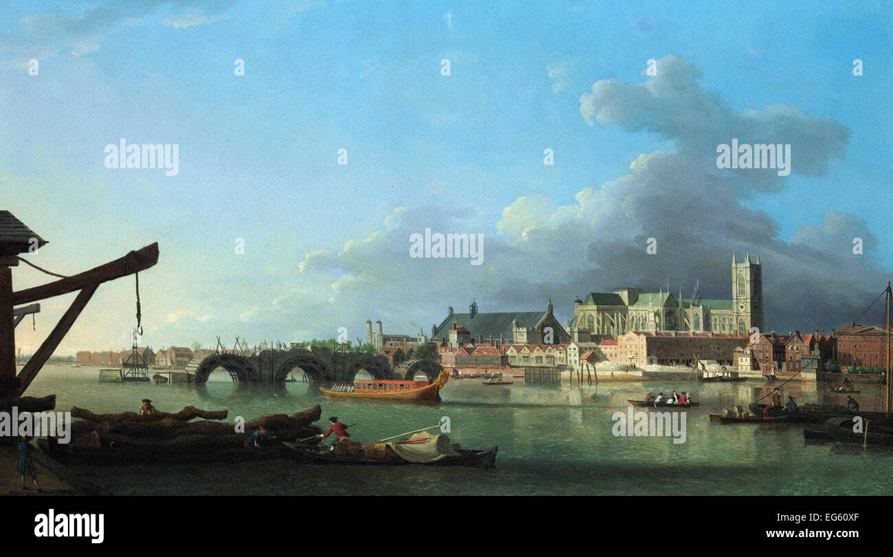 Samuel Scott  The Building of Westminster Bridge - Stock Image