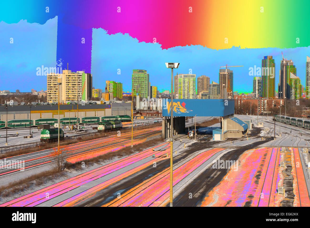 a lot;blue;building;buildings;cities;city;CITY SCAPE;CITY SKYLINE;cityscape;cityscapes;color image;color images;color - Stock Image