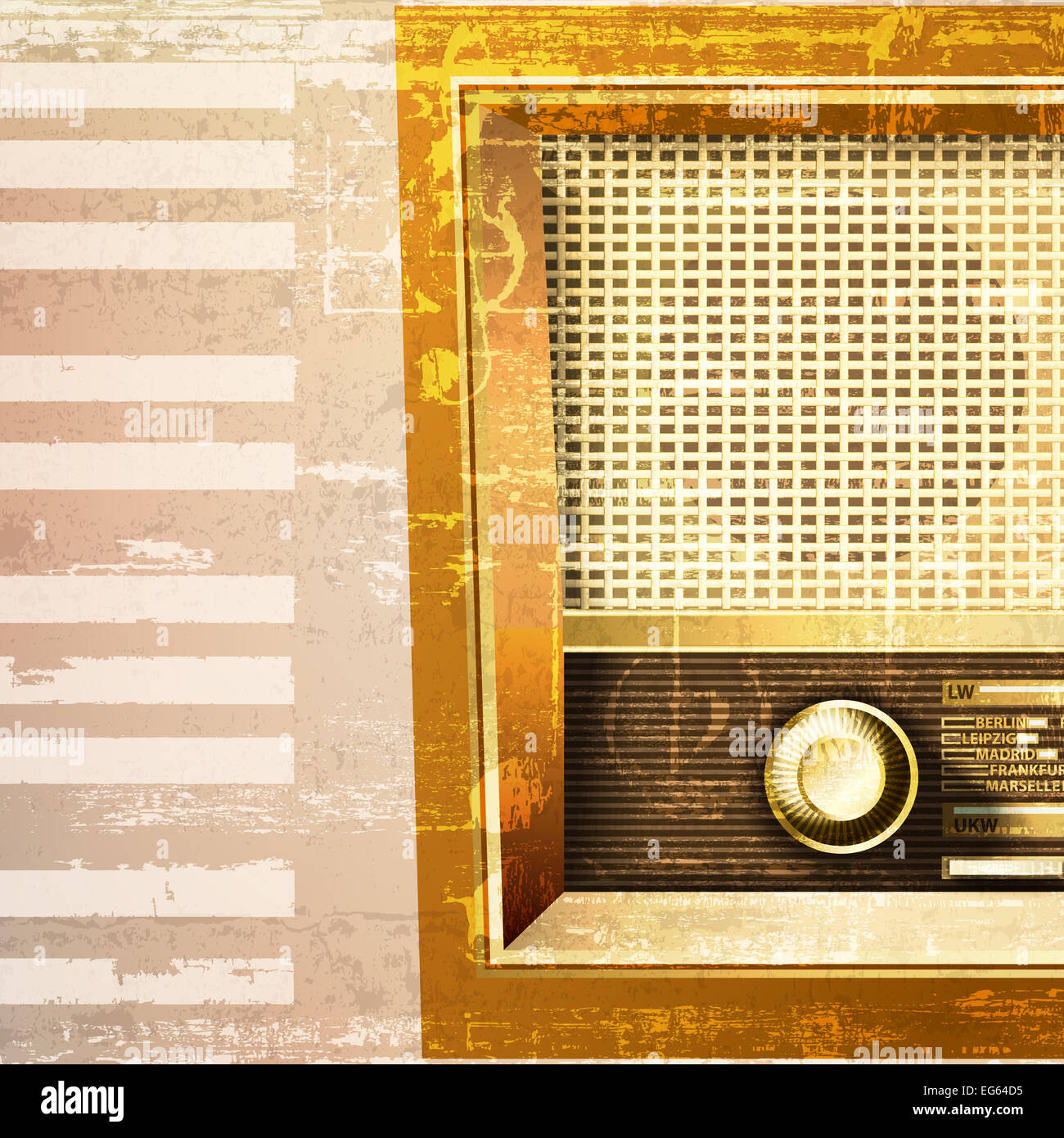 abstract beige grunge piano background with retro radio - Stock Image