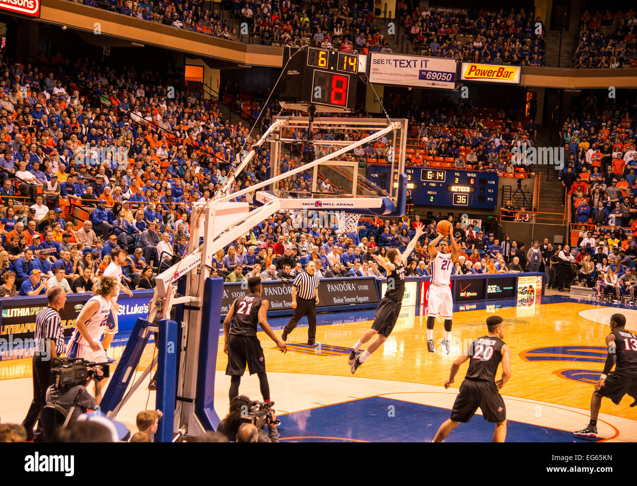 Boise State Basketball game against San Diego State in Taco Bell Arena. Bose, Idaho - Stock Image