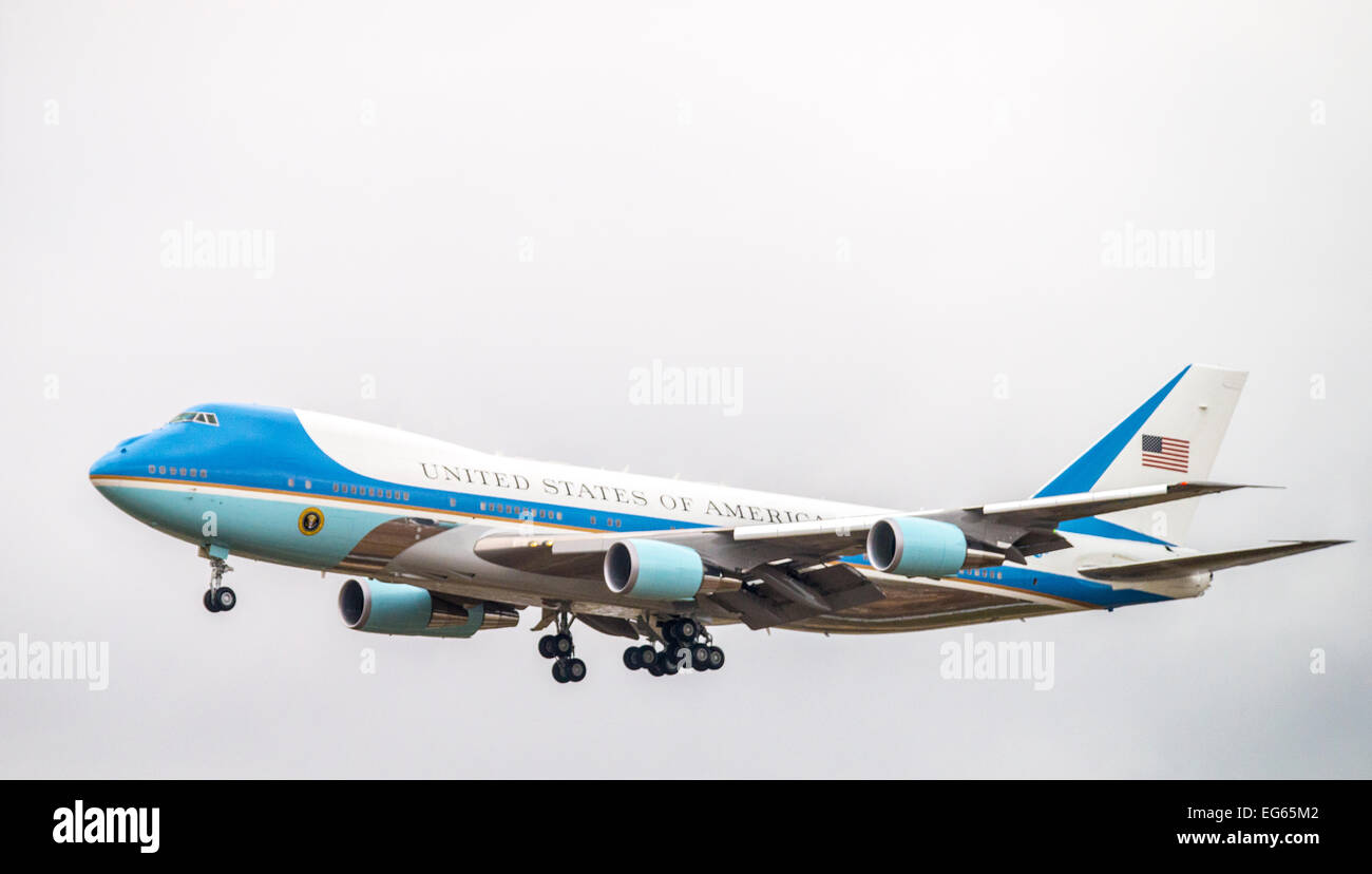 Air Force One with President Obama landing at airport in Boise Idaho, USA - Stock Image