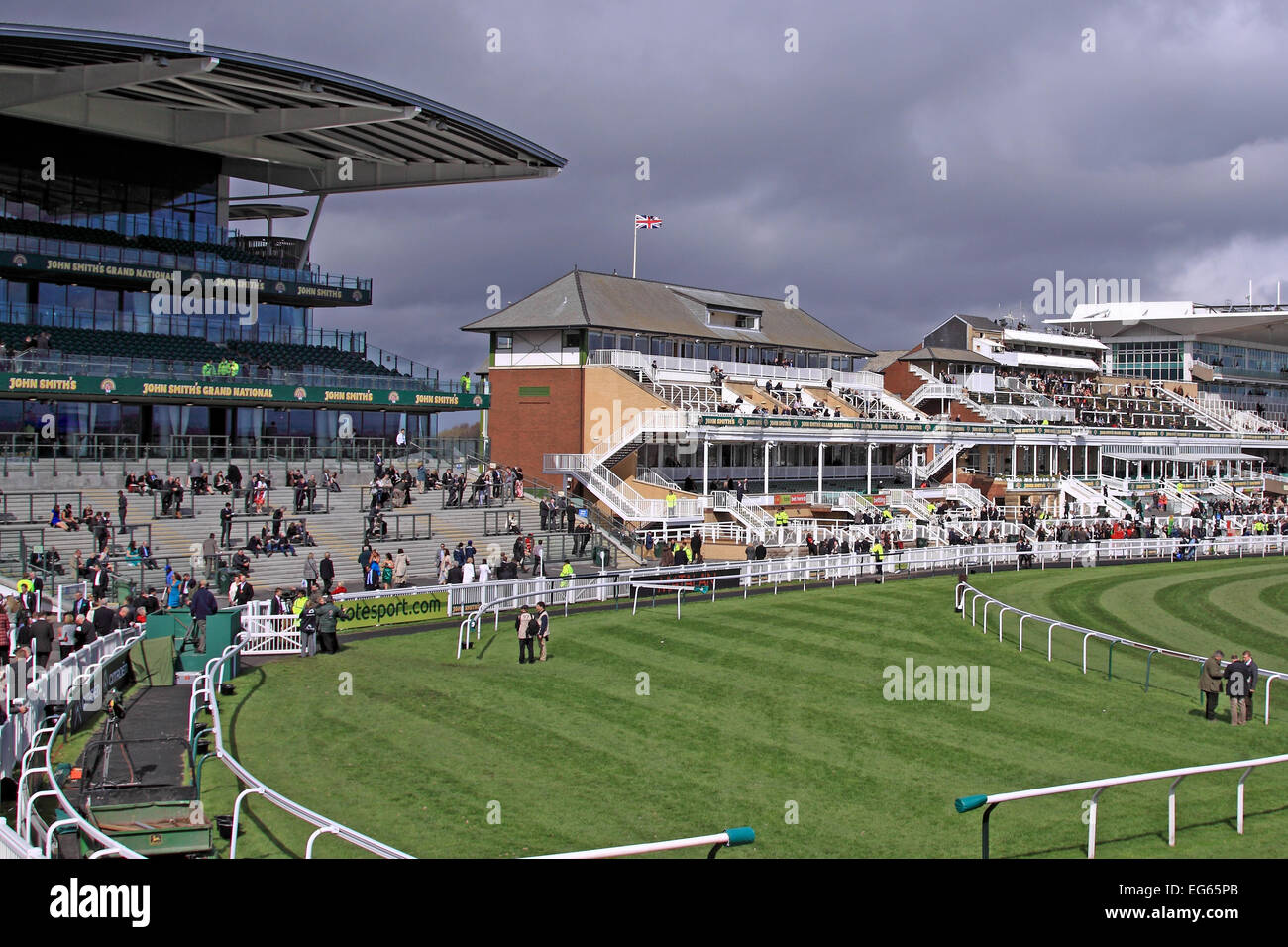 A pristine Aintree Racecourse at lunchtime before the Grand National / Liverpool / Merseyside / UK Stock Photo