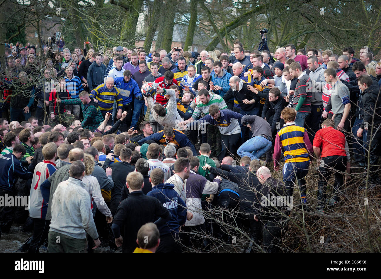 Ashbourne,Derbyshire,UK.17th February 2015. The annual two day shrovetide football game got underway today with Stock Photo