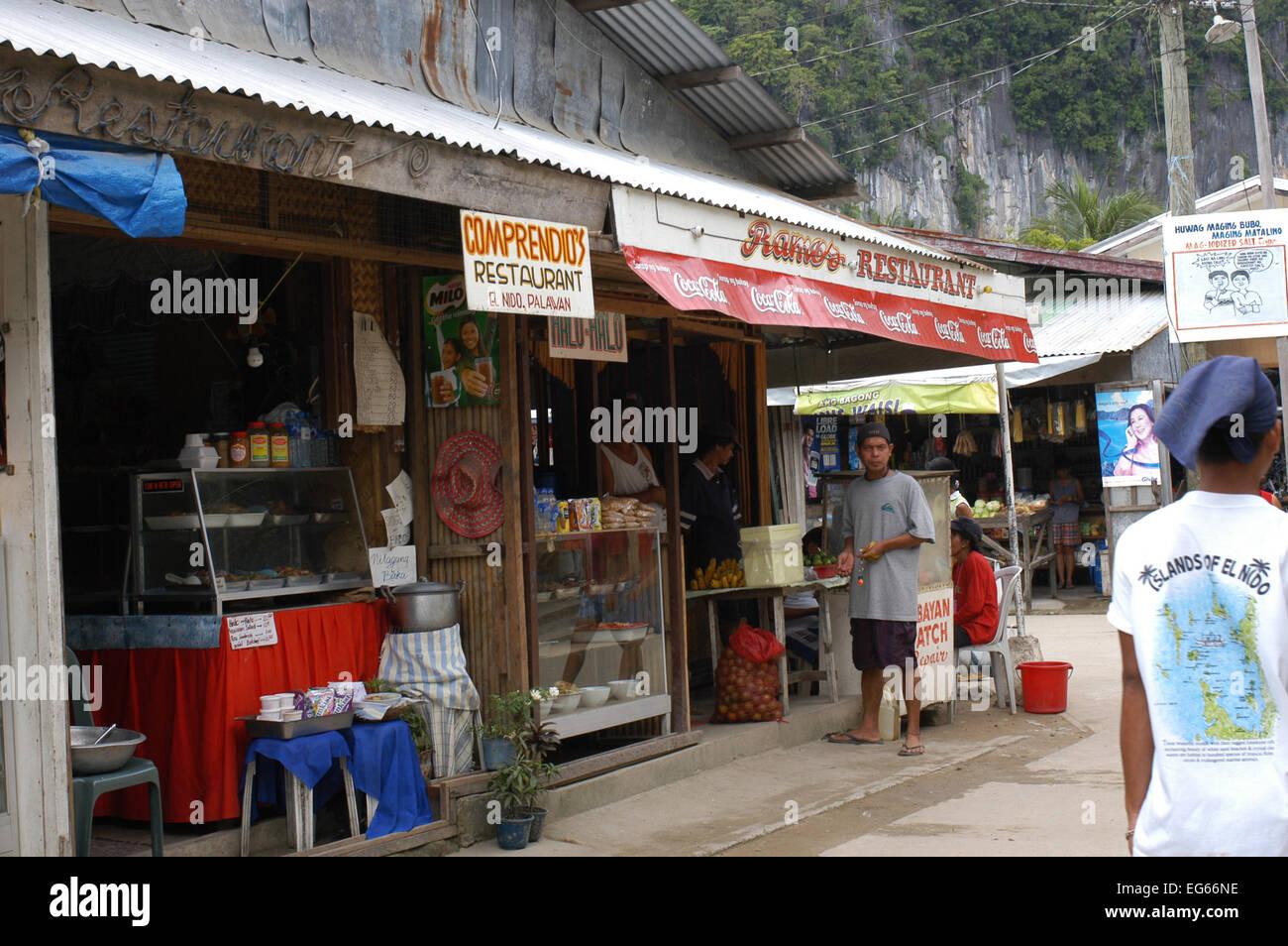 Bar, restaurants. Streets of the village El Nido. Philippines. El Nido (officially the Municipality of El Nido) - Stock Image