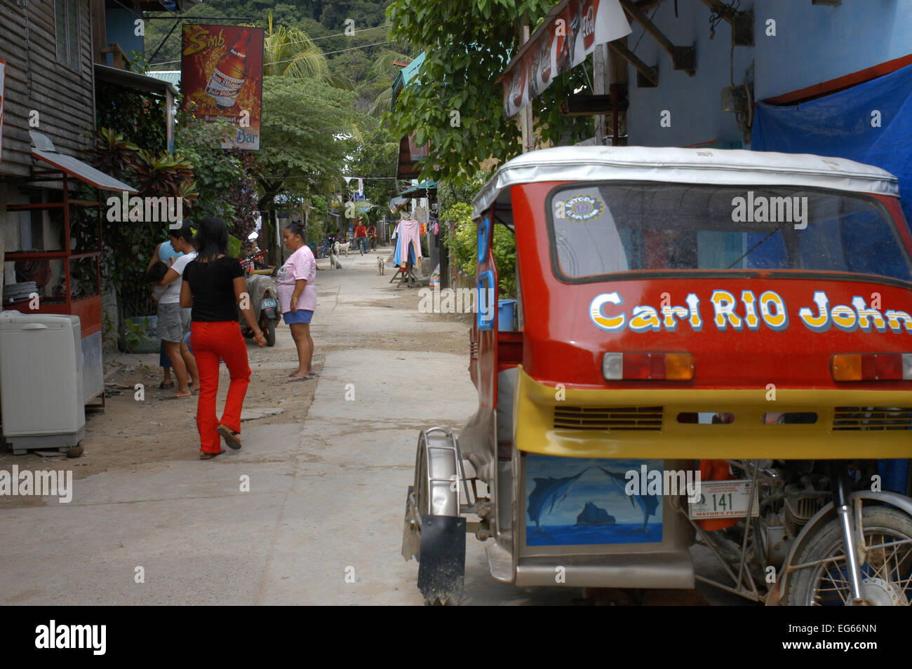 Tuc tuc. Streets of the village El Nido. Philippines. El Nido (officially the Municipality of El Nido) is a first - Stock Image