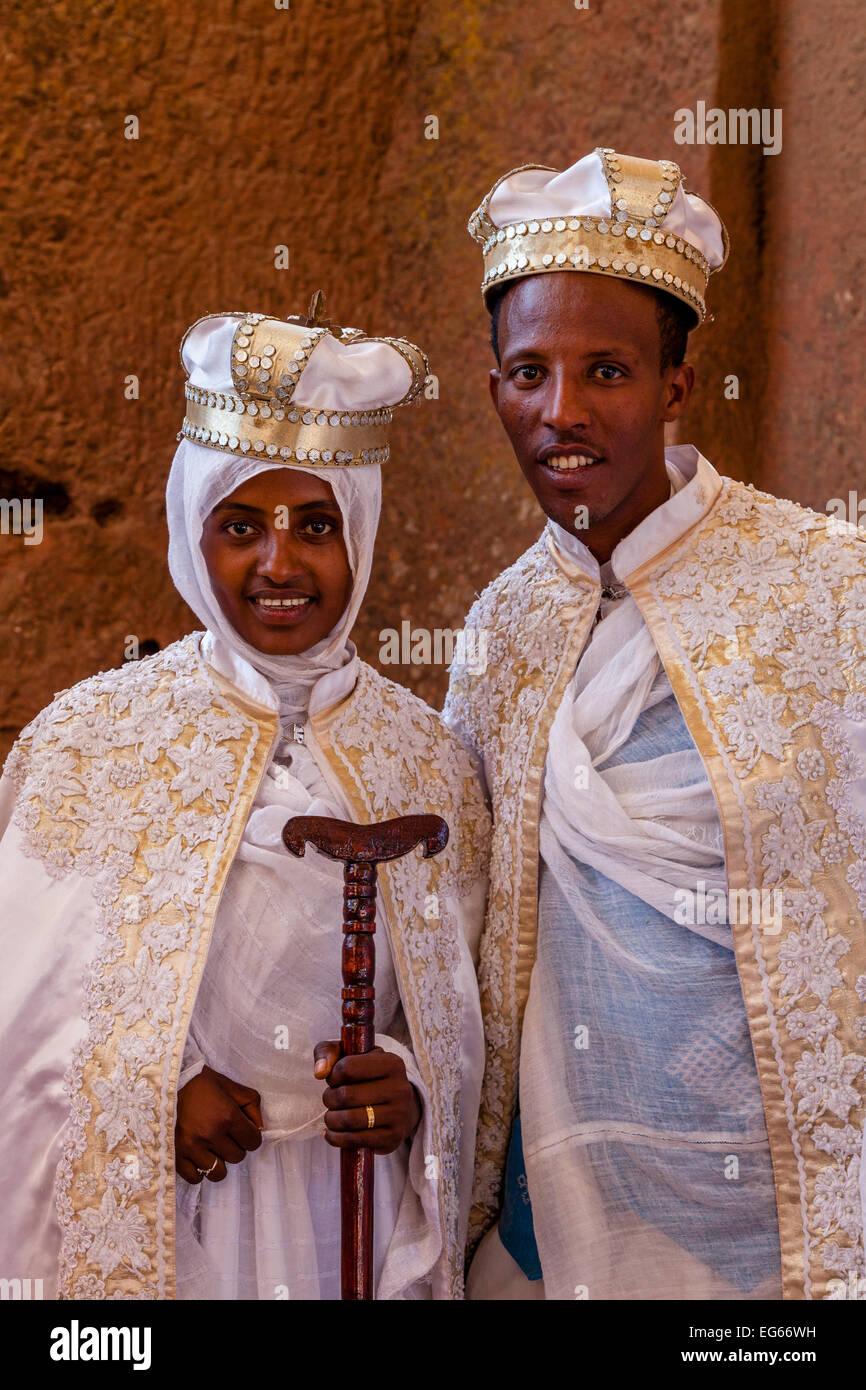 An Ethiopian Wedding, Biete Maryam (House of Miriam/House of Mary) Church, Lalibela, Ethiopia - Stock Image