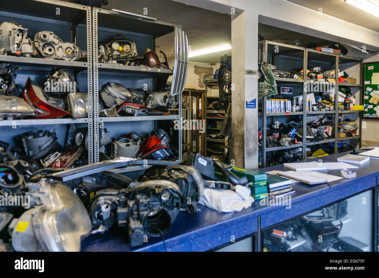 Counter And Shelves Inside A Second Hand Car Parts Shop Stock Photo