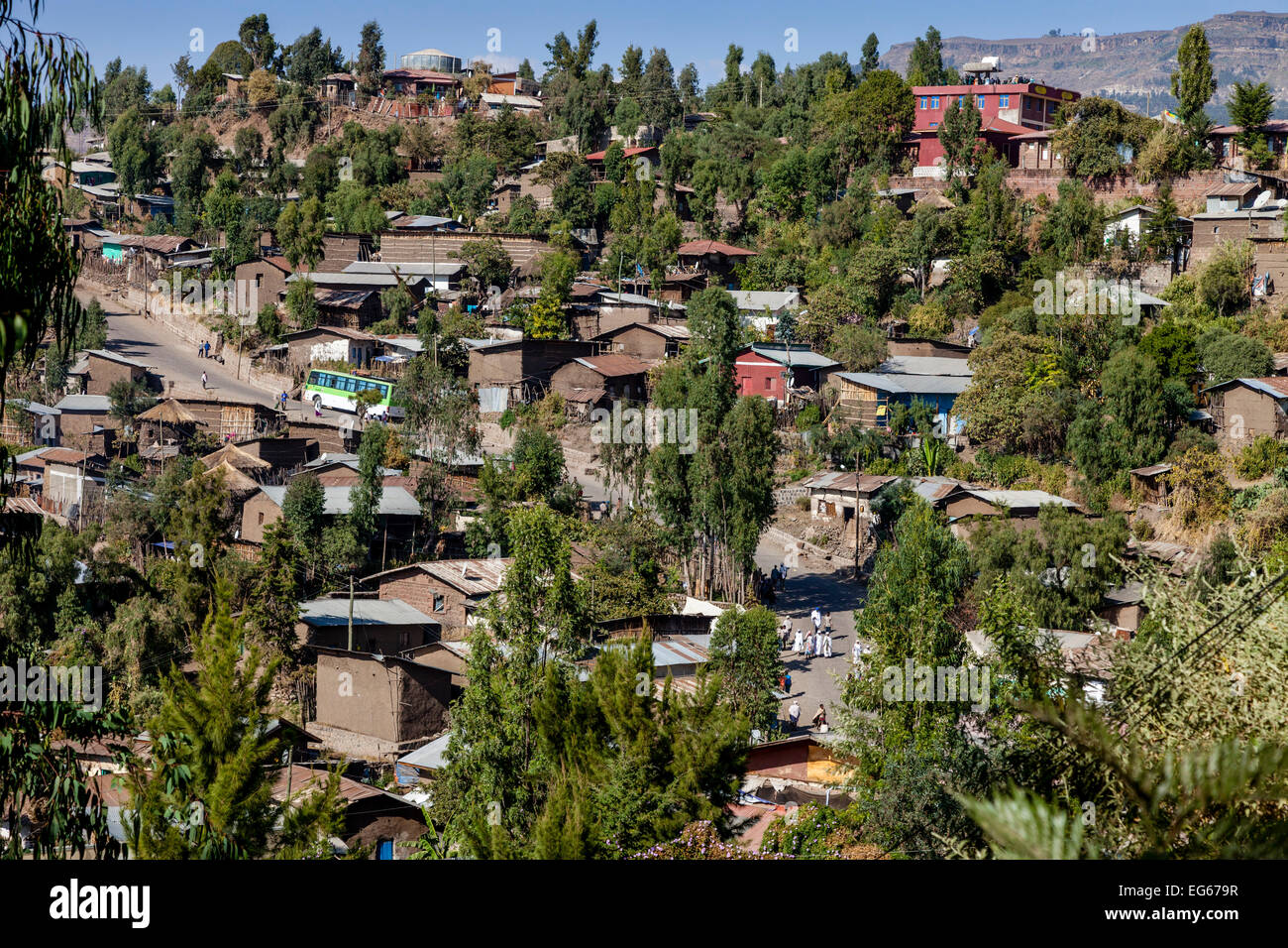 An Elevated View Of The Town Of Lalibela, Ethiopia - Stock Image