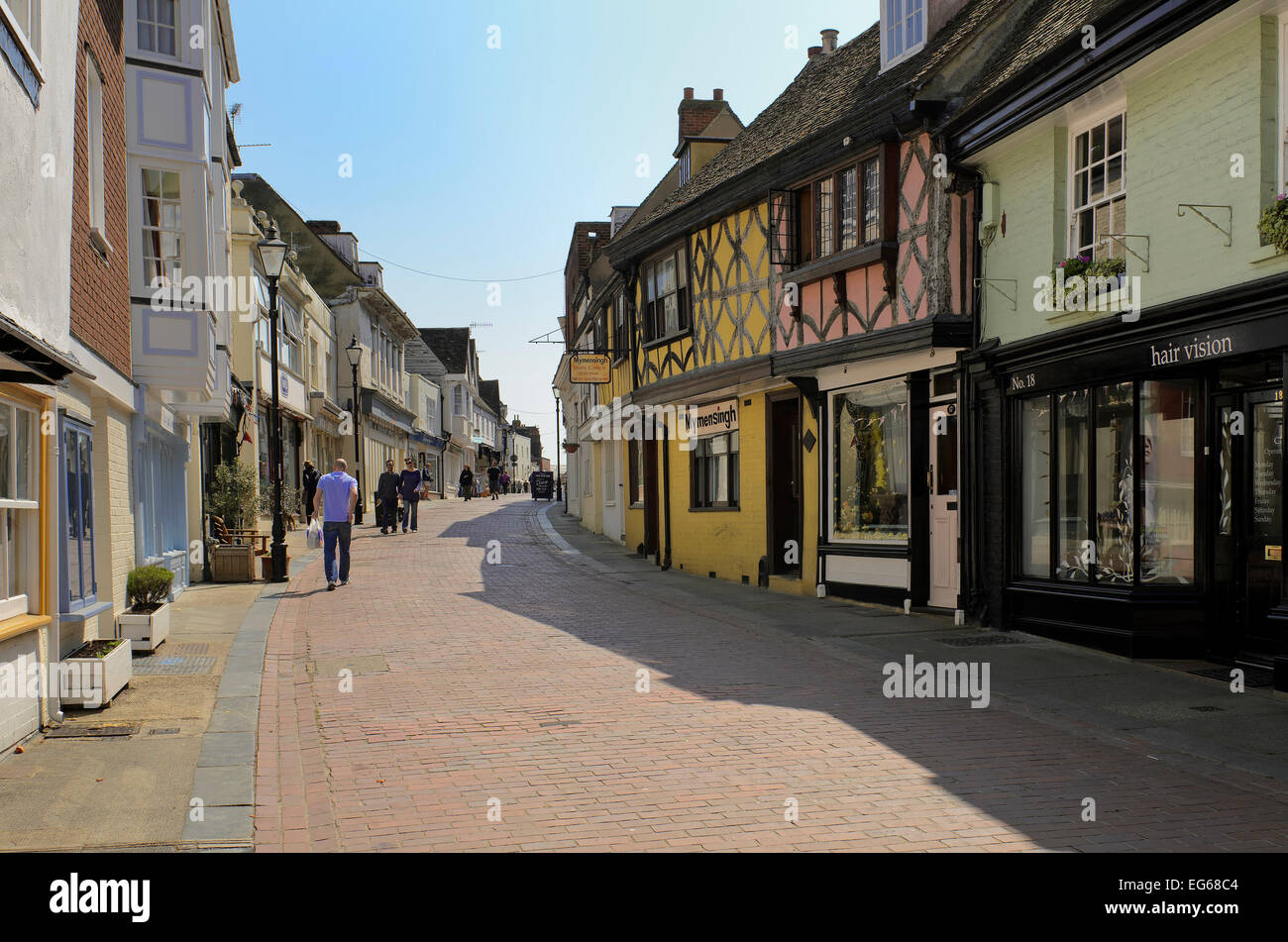 view along west street faversham in kent - Stock Image