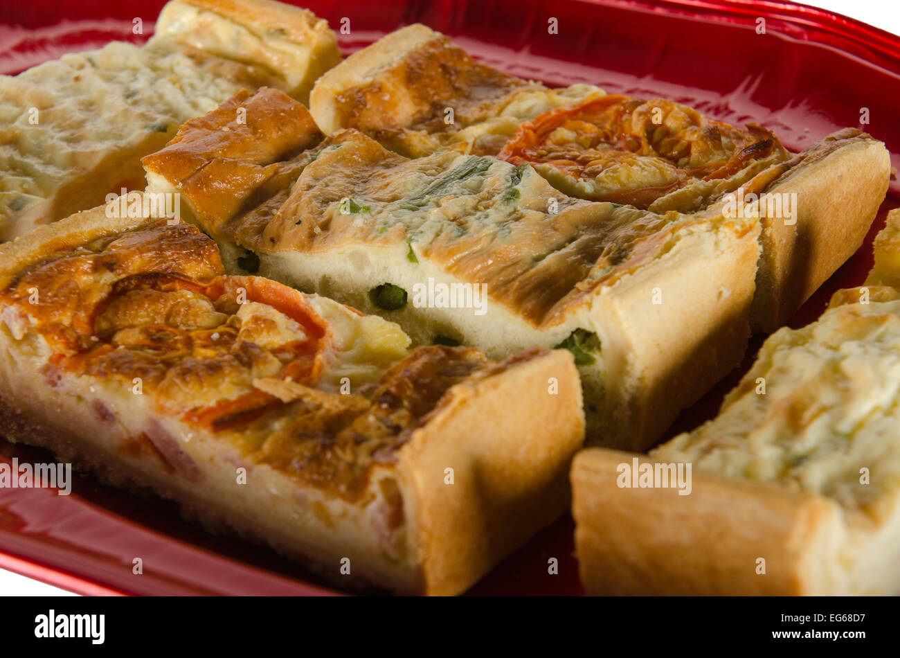 a plate of party food, quiche Lorain - Stock Image