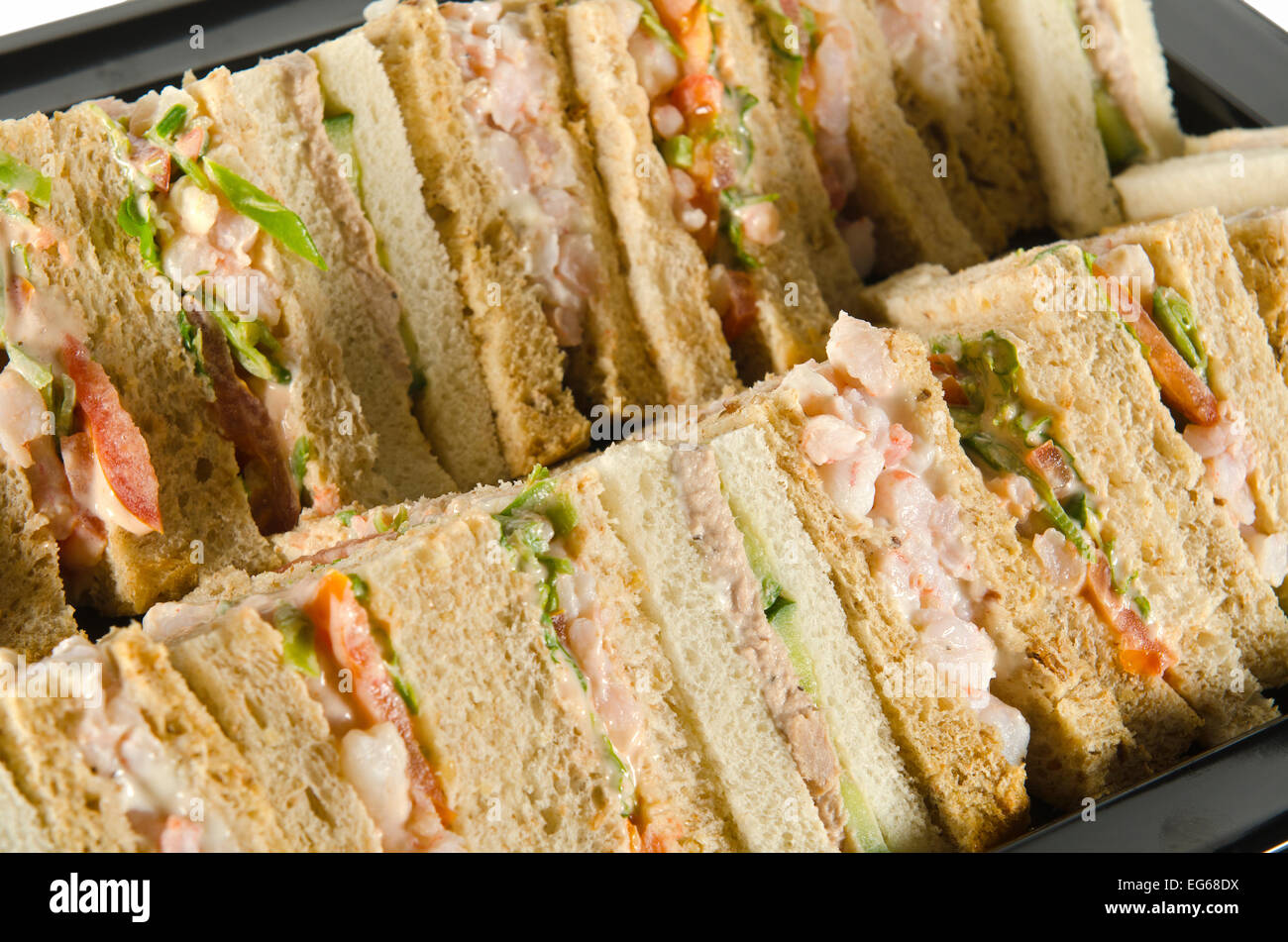 A Plate Of Party Food Wraps Rolls And Sandwiches Stock Photo