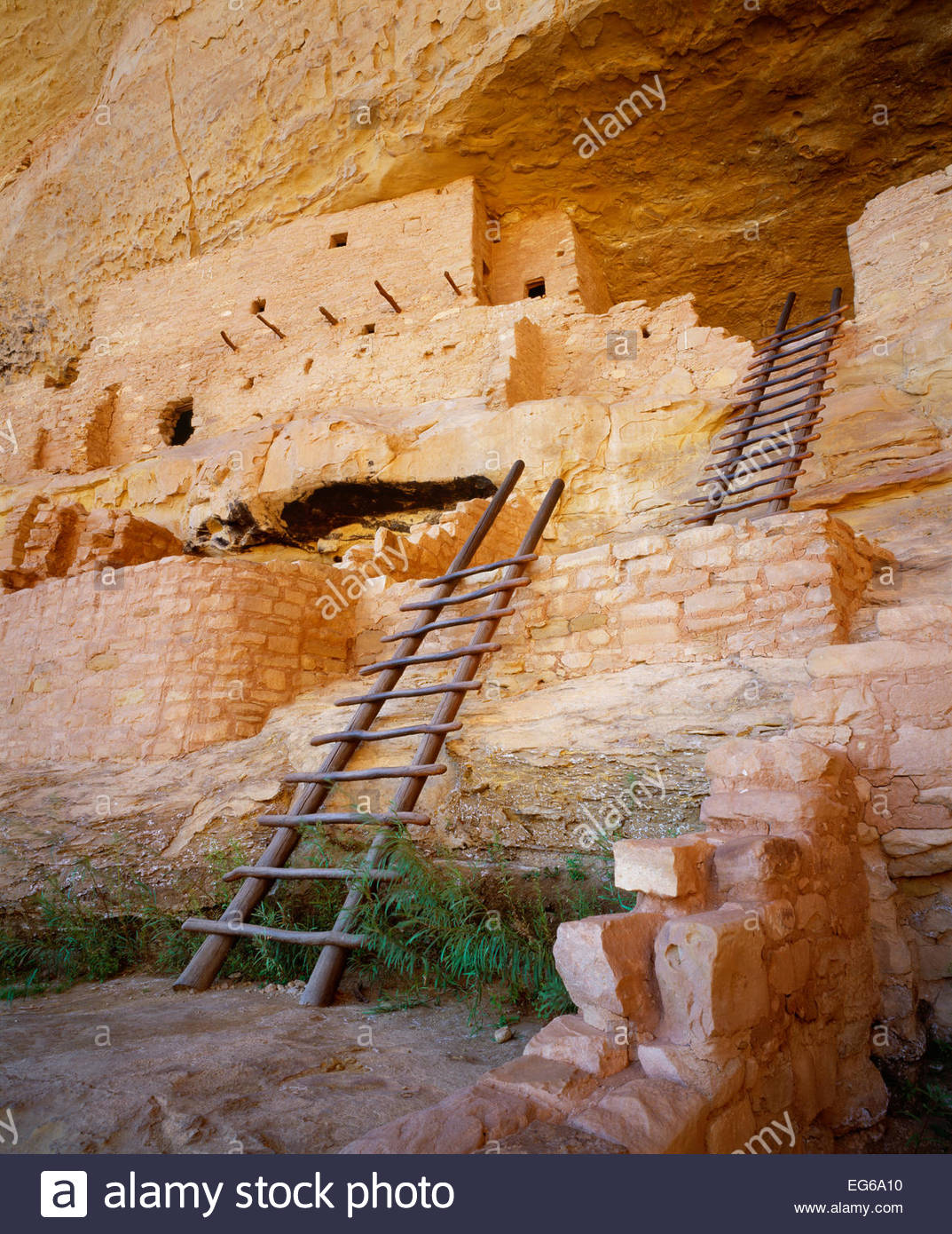 Long House, Anasazi culture cliff dwelling.  [Wetherill Mesa]  [Mesa Verde National Park] Colorado - Stock Image