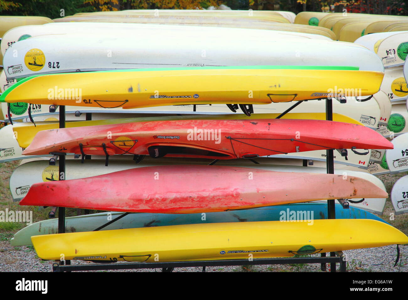 Canoes at  portage - Stock Image
