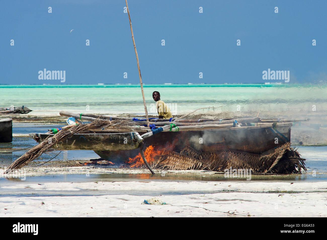 Dhow maintenance in Zanzibar - Stock Image